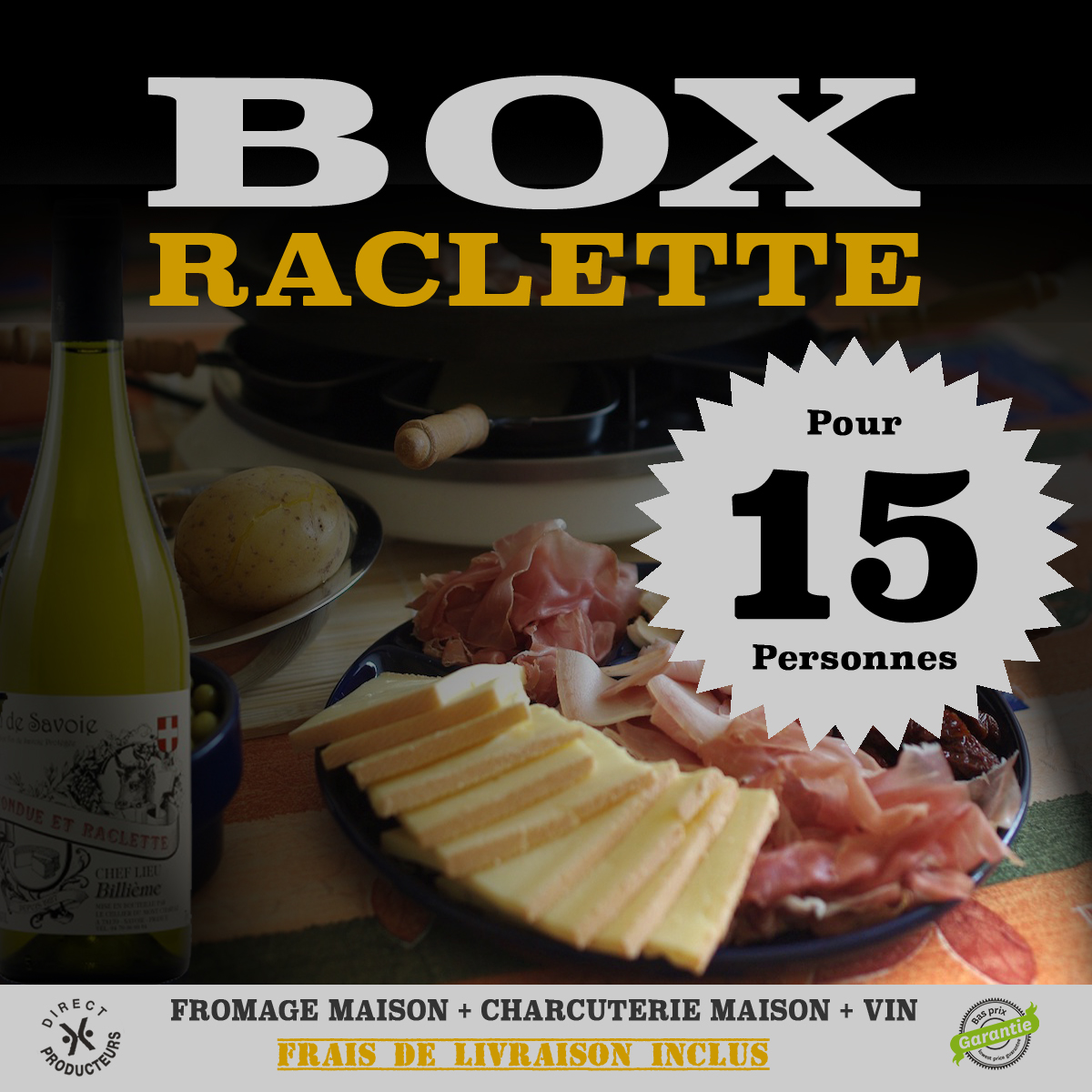box raclette 15 personnes terroirs des alpes. Black Bedroom Furniture Sets. Home Design Ideas